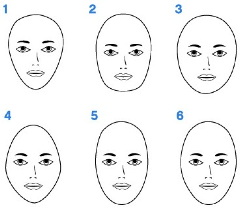 "face, round face, diamond face, long (or ""oblong"") face, oval face"